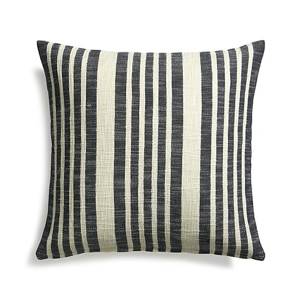 "Celena Midnight Stripe 23"" Pillow  with Feather Insert"
