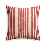 "Celena Red Stripe 23"" Pillow with Feather Insert"