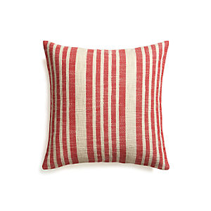 "Celena Red Stripe 23"" Pillow with Down-Alternative Insert"