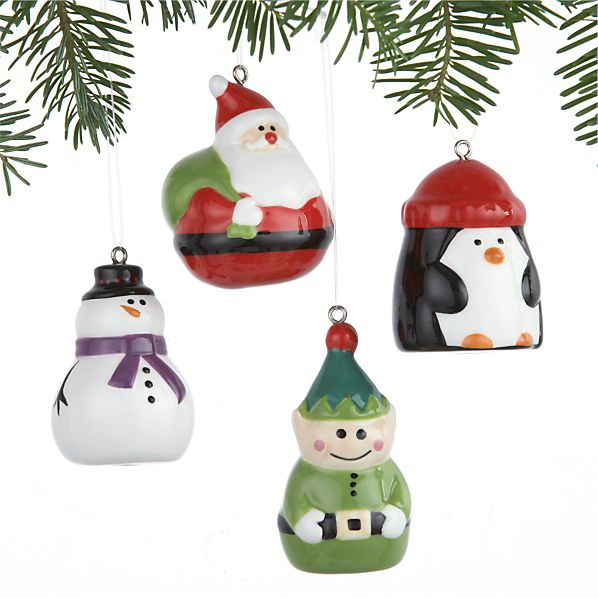 Set of 4 Ceramic Holiday Icon Ornaments