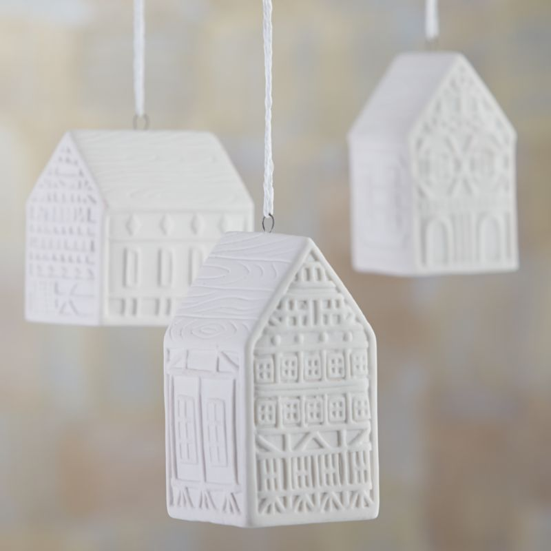 Three Ceramic House Ornaments