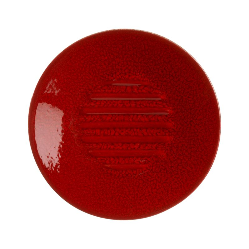 A simple disk of vibrant red ceramic keeps soap scum off of counters and sinks.<br /><br /><NEWTAG/><ul><li>Earthenware composite</li><li>Red glaze</li><li>Hand wash</li><li>Made in Portugal</li></ul>