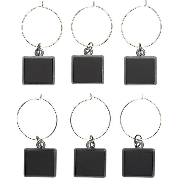 Set of 6 Chalkboard Wine Charms