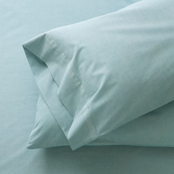Set of 2 Chambray Blue King Pillowcases