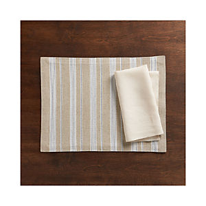 Chatham Stripe Placemat and Helena Vanilla Linen Napkin