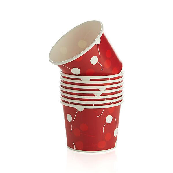 Set of 8 Cherry Paper Snack Bowls