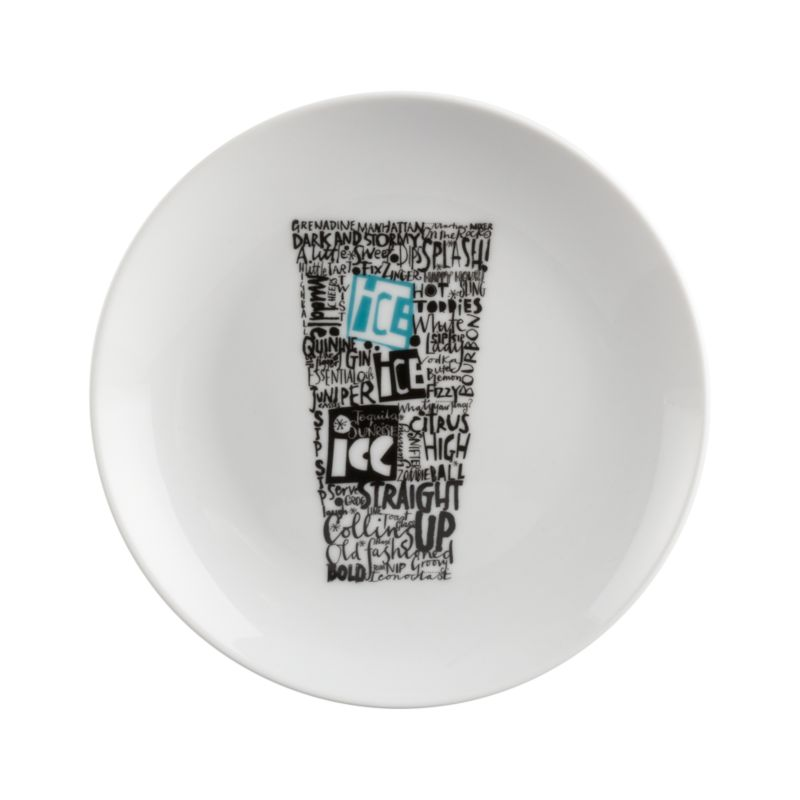 Conversational, cocktail-focused graphic shapes up on clean white porcelain for hors d'oeuvres service.<br /><br /><NEWTAG/><ul><li>Porcelain</li><li>Dishwasher- and microwave-safe</li><li>Made in China</li></ul>