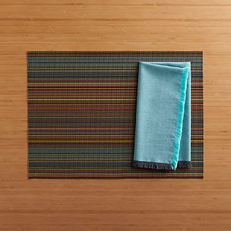 Chilewich ® Chroma Dark Stripe Placemat and Chambray Fringe Aqua-Grey Napkin