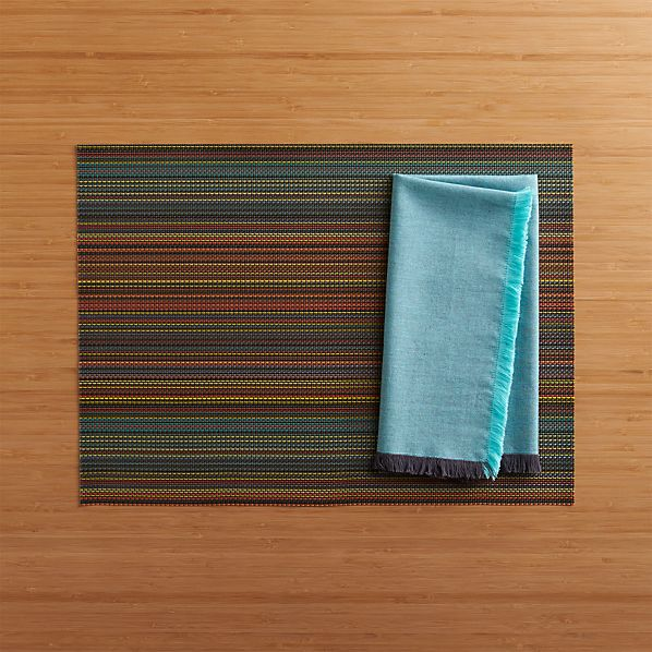 Chilewich® Chroma Dark Stripe Placemat and Chambray Fringe Aqua-Grey Napkin