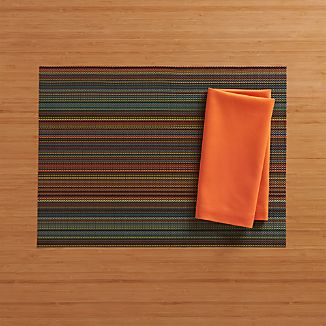 Chilewich ® Chroma Dark Stripe Placemat and Fete Koi Cotton Napkin