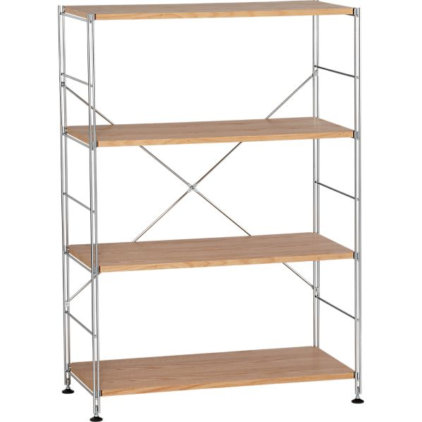 Chrome 4-Shelf Unit with Wood Shelves