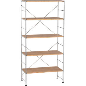 Chrome 5-Shelf Unit with Wood Shelves