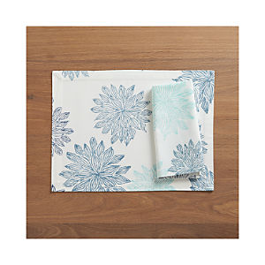 Chrysanthemum Blue Placemat and Napkin