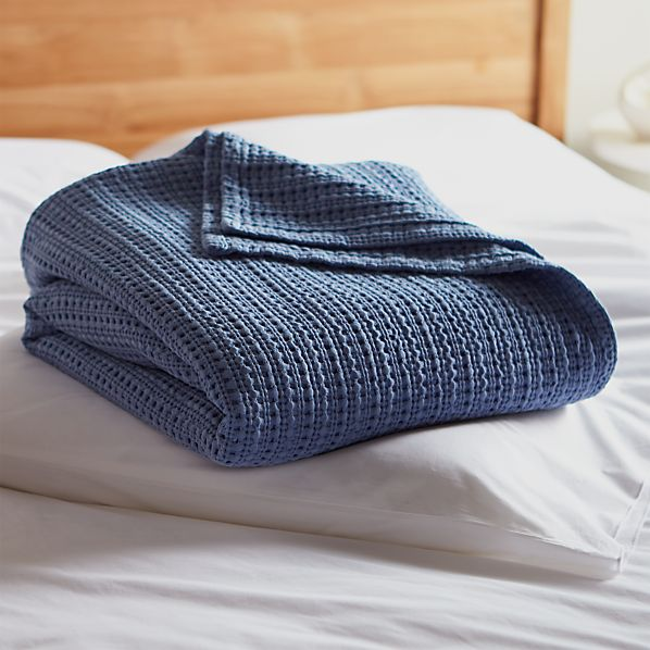 Chunky Blue Cotton Blanket