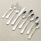 Cirrus 52-Piece Flatware Set: eight 5-piece place settings, eight extra teaspoons, two serving spoons, serving fork, pierced serving spoon.