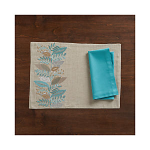 Clara Linen Placemat and Fete Aqua Cotton Napkin