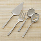 Clark 4-Piece Serving Set: pastry server, serving fork, slotted spoon, serving spoon.
