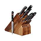 "Wüsthof® Classic 10-Piece Knife Block Set: 2.75"" trimming knife, 3"" flat cut paring knife, 3.5"" paring knife, 4.5"" utility knife, 5"" tomato knife, 8"" bread knife, 8"" cook's knife, kitchen shears, 9"" sharpening steel and 17-slot acacia knife block."