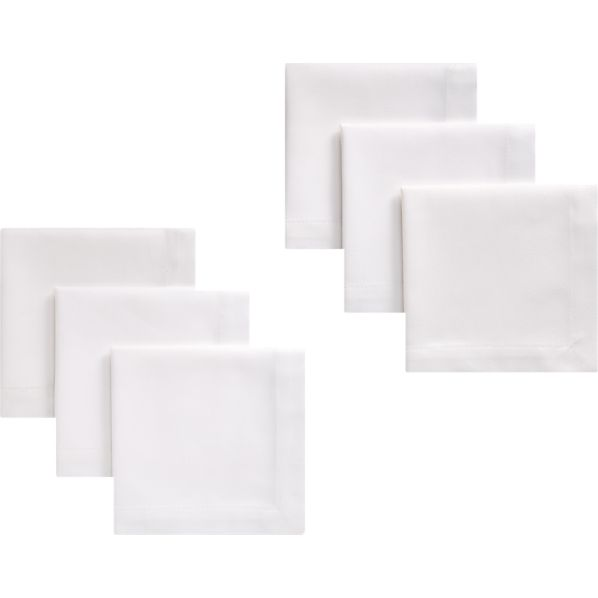 Set of 6 Classic White Cocktail Napkins