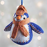 Purple and Orange Collegiate Penguin Ornament