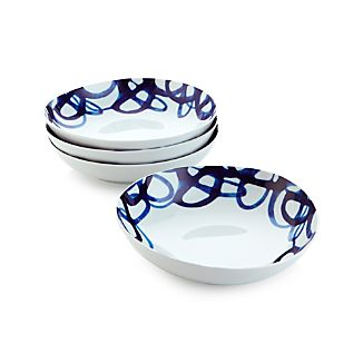 Set of 4 Como Swirl Deep Plates
