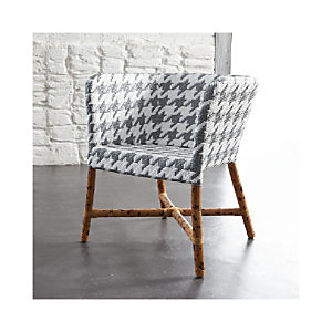 Como Grey and White Woven Chair
