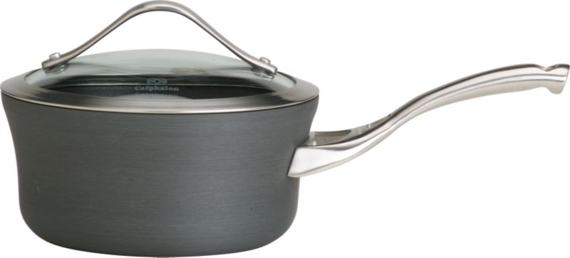 Unique new shape in maximum-performace cookware from Calphalon. Extremely versatile, durable nonstick cookware is crafted of hard anodized, heavy-gauge aluminum with domed, tempered-glass lid.<br /><br /><NEWTAG/><ul><li>Oversized shape with capacity indicator line</li><li>Contemporary stainless steel accents on lid</li><li>Ergonomic stay-cool handle in brushed stainless</li><li>Healthy cooking with little or no fat</li><li>Oven-safe to 450 degrees</li><li>Made in China</li></ul><br /><a href=/Gift-Registry/Promo-Bonus-Gifts.aspx> Calphalon® and other Wedding Registry offers</a>