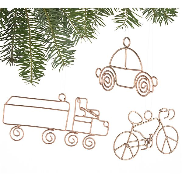 Set of 3 Copper Wire Vehicle Ornaments