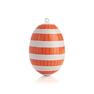 Hand Painted Coral Stripe Easter Egg