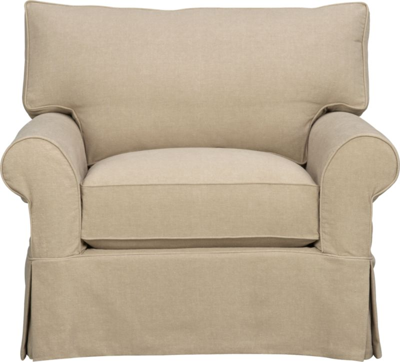 "A Crate and Barrel classic with a relaxed attitude and overstuffed appeal. Easy comfort and quality construction feature deep cushions and plump rolled arms. Prewashed cotton slipcovers with self-welt detail and dressmaker skirt are machine-washable.<br /><br />Additional <a href=""http://crateandbarrel.custhelp.com/cgi-bin/crateandbarrel.cfg/php/enduser/crate_answer.php?popup=-1&p_faqid=125&p_sid=DMUxFvPi"">slipcovers</a> available below and through stores featuring our Furniture Collection.<br /><br />After you place your order, we will send a fabric swatch via next day air for your final approval. We will contact you to verify both your receipt and approval of the fabric swatch before finalizing your order.<br /><br /><NEWTAG/><ul><li>Eco-friendly construction</li><li>Certified sustainable, kiln-dried hardwood frame</li><li>Seat cushion is soy- or plant-based polyfoam wrapped in fiber-down blend and encased in downproof ticking</li><li>Back cushion is synthetic fiber and feather-down blend wrapped in downproof ticking</li><li>Flexolator spring suspension</li><li>100% prewashed cotton slipcover</li><li>Removable slipcovers are machine washable</li><li>Benchmade</li><li>See additional frame options below</li><li>Made in North Carolina, USA</li></ul>"