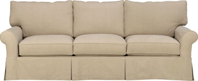 "Machine-washable skirted slipcover tailored for the Cortland Queen Sleeper Sofa takes on everyday living.<br /><br />Additional <a href=""http://crateandbarrel.custhelp.com/cgi-bin/crateandbarrel.cfg/php/enduser/crate_answer.php?popup=-1&p_faqid=125&p_sid=DMUxFvPi"">slipcovers</a> available below and through stores featuring our Furniture Collection.<br /><br />After you place your order, we will send a fabric swatch via next day air for your final approval. We will contact you to verify both your receipt and approval of the fabric swatch before finalizing your order.<br /><br /><NEWTAG/><ul><li>100% prewashed cotton slipcover</li><li>Machine washable</li></ul>"