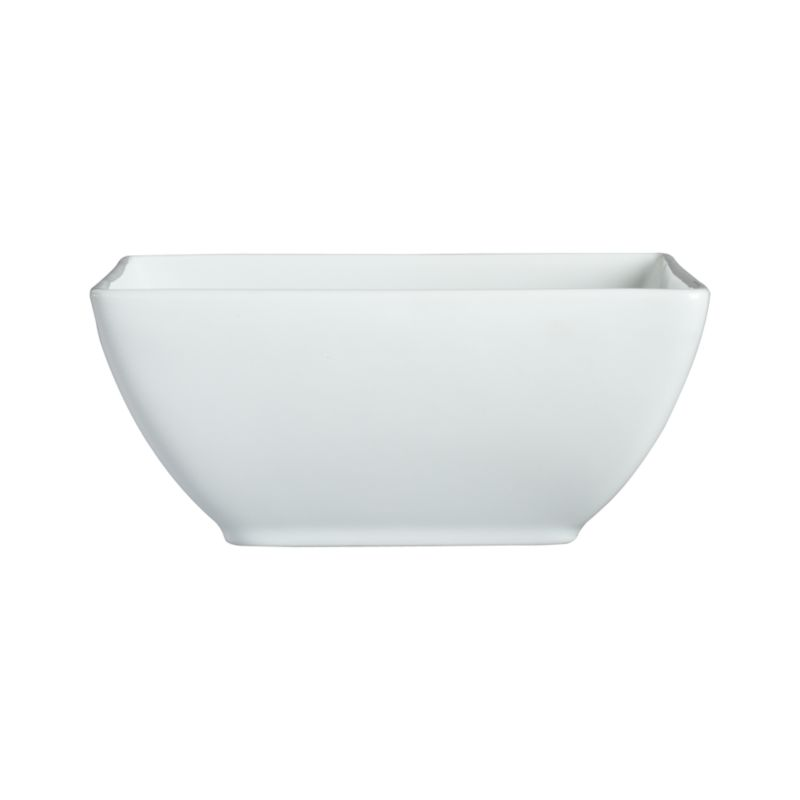 Clean, crisp white porcelain dinnerware combines squares and curves in a dynamic contemporary design.<br /><br /><strong>Please note:</strong> This bowl is discontinued. When our current inventory is sold out, it is unlikely we will be able to obtain more.<br /><br /><NEWTAG/><ul><li>Porcelain</li><li>Chip- and stain-resistant</li><li>Dishwasher-, microwave- and oven-safe to 350 degrees</li><li>Made in China</li></ul><br /><br /><br /><br /><br />
