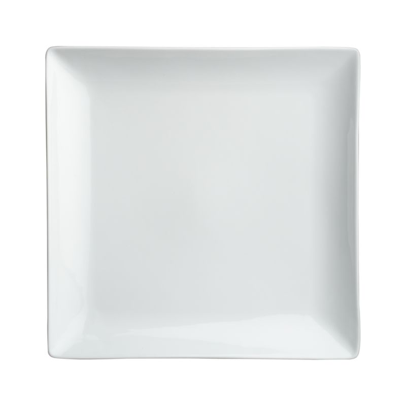 Clean, crisp white porcelain dinnerware combines squares and curves in a dynamic contemporary design.<br /><br /><strong>Please note:</strong> This plate will be discontinued in June 2014.<br /><br /><NEWTAG/><ul><li>Porcelain</li><li>Chip- and stain-resistant</li><li>Dishwasher-, microwave- and oven-safe to 350 degrees</li><li>Made in China</li></ul>
