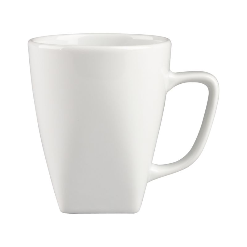 Clean, crisp white porcelain dinnerware combines squares and curves in a dynamic contemporary design.<br /><br /><strong>Please note:</strong> This mug is discontinued. When our current inventory is sold out, it is unlikely we will be able to obtain more.<br /><br /><NEWTAG/><ul><li>Porcelain</li><li>Chip- and stain-resistant</li><li>Dishwasher-, microwave- and oven-safe to 350 degrees</li><li>Made in China</li></ul>