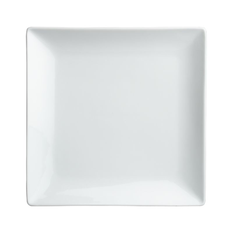 Clean, crisp white porcelain dinnerware combines squares and curves in a dynamic contemporary design.<br /><br /><strong>Please note:</strong> This plate is discontinued. When our current inventory is sold out, it is unlikely we will be able to obtain more.<br /><br /><NEWTAG/><ul><li>Porcelain</li><li>Chip- and stain-resistant</li><li>Dishwasher-, microwave- and oven-safe to 350 degrees</li><li>Made in China</li></ul>