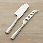 "Couture 2-Piece Cheese Knife Set: 1.5""Wx9""H hard cheese knife and 1""Wx9.5""H soft cheese knife."