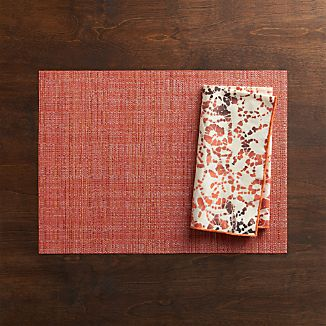 Chilewich® Crepe Coral Placemat and Swirl Batik Napkin