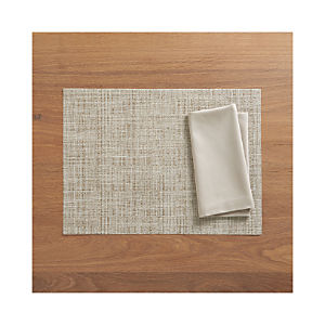 Chilewich ® Crepe Neutral Placemat and Fete Dove Cotton Napkin
