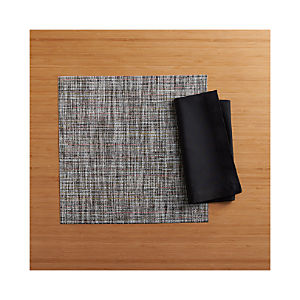 Chilewich ® Crepe Plaid Square Placemat and Fete Black Cotton Napkin