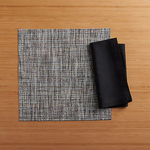 Chilewich® Crepe Plaid Square Placemat and Fete Black Cotton Napkin