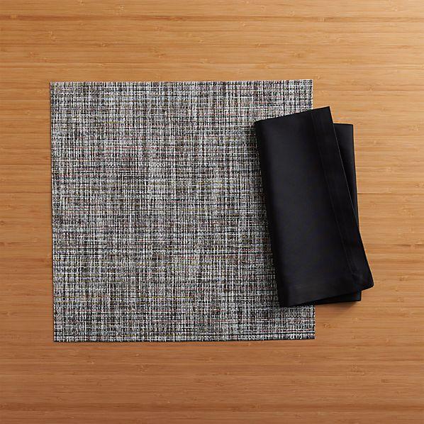 Chilewich ® Crepe Plaid Square Placemat and Fete Black Cotton Napkin