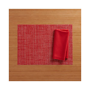 Chilewich ® Crepe Red Placemat and Fete Cherry Cotton Napkin