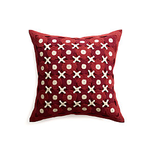 "Crochet 23"" Pillow with Feather-Down Insert"