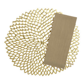 Chilewich® Dahlia Gold Placemat and Lustre Gold Napkin
