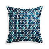 "Dara Blue 16"" Pillow with Feather Insert"