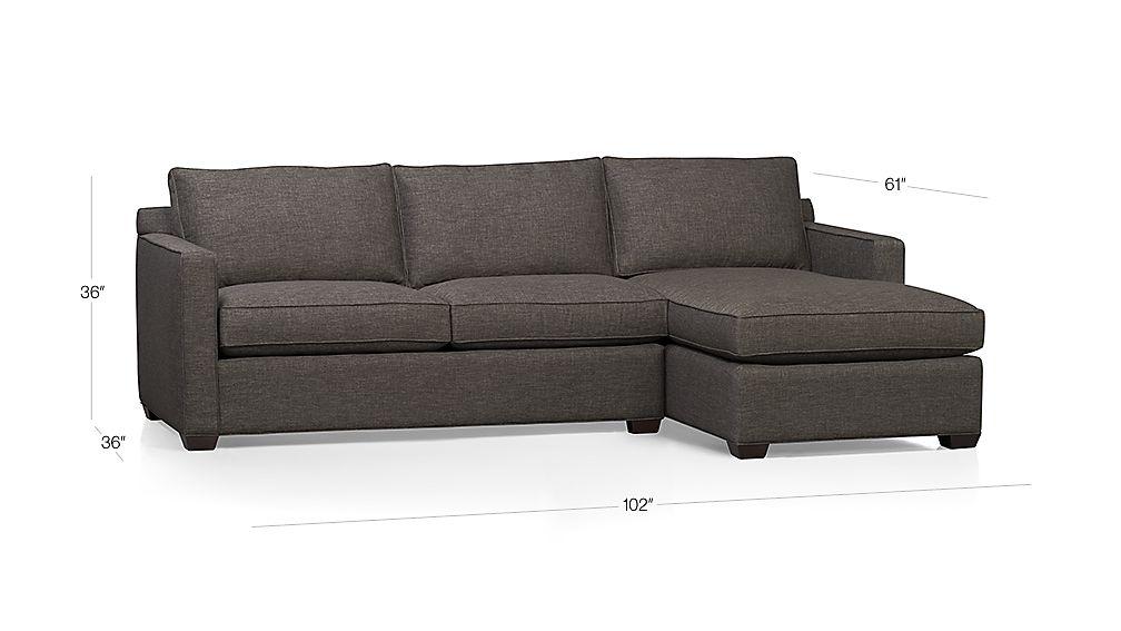 Davis 2-Piece Sectional Sofa Dimensions