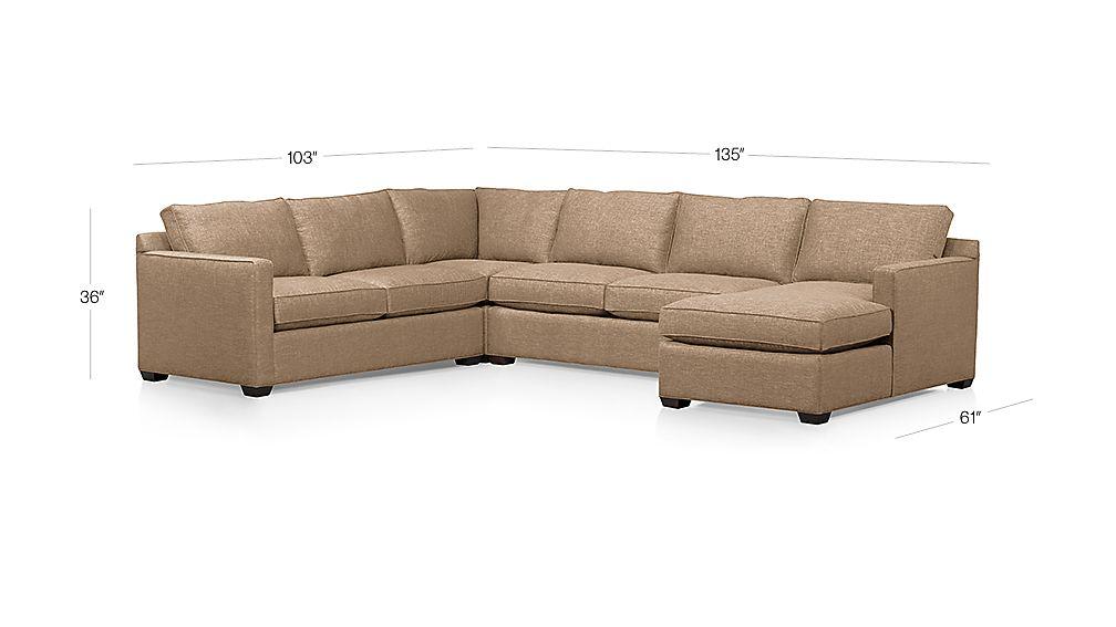 Davis 4-Piece Sectional Sofa Dimensions