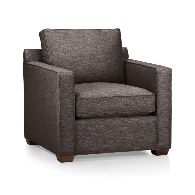 Davis is designed to sit big in small spaces at an affordable price. Versatile chair is perfect for a variety of spaces including family rooms, dens, casual living rooms and guest rooms. It's upright, yet comfortable style make it a welcome addition to any space. <NEWTAG/><ul><li>Frame is benchmade in the USA with certified sustainable hardwood that's kiln-dried to prevent warping</li><li>Flexolator spring suspension system</li><li>Soy-based polyfoam seat cushion wrapped in fiber-down blend and encased in downproof ticking</li><li>Fiber-down back cushion encased in downproof ticking</li><li>Self-welt detail</li><li>Hardwood legs finished with a hickory brown stain</li><li>Material origin: see swatch</li><li>Made in North Carolina, USA</li></ul><br />