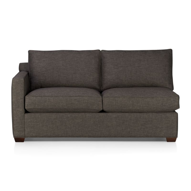 Davis is a contemporary compact sectional designed for contemporary real life. Every imaginable configuration is possible between these modular pieces and the companion stand-alone pieces, all with firm but plump support. Upholstered in a rich tonal charcoal weave, they stand up to high traffic. Understated hardwood legs have a rich hickory finish. Sofa group also available.<br /><br />After you place your order, we will send a fabric swatch via next day air for your final approval. We will contact you to verify both your receipt and approval of the fabric swatch before finalizing your order.<br /><br /><NEWTAG/><ul><li>Eco-friendly construction</li><li>Certified kiln-dried hardwood frame</li><li>Seat cushions are multilayer soy- or plant-based polyfoam wrapped in fiber down blend encased in downproof ticking</li><li>Flexolator s