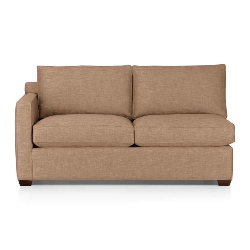 Davis is a contemporary compact sectional designed for contemporary real life. Every imaginable configuration is possible between these modular pieces and the companion stand-alone pieces, all with firm but plump support. Upholstered in a sophisticated tonal taupe weave, they stand up to high traffic. Understated hardwood legs have a rich hickory finish. Davis sofa group also available.<br /><br />After you place your order, we will send a fabric swatch via next day air for your final approval. We will contact you to verify both your receipt and approval of the fabric swatch before finalizing your order.<br /><br /><NEWTAG/><ul><li>Eco-friendly construction</li><li>Certified kiln-dried hardwood frame</li><li>Seat cushions are multilayer soy- or plant-based polyfoam wrapped in fiber/down blend encased in downproof ticking</li><li>Flexolator spring suspension</li><li>Back cushions are fiber/down encased in downproof ticking</li><li>100% polyester</li><li>Self-welt detail</li><li>Benchmade</li><li>See additional frame options below</li><li>Made in North Carolina, USA</li></ul>